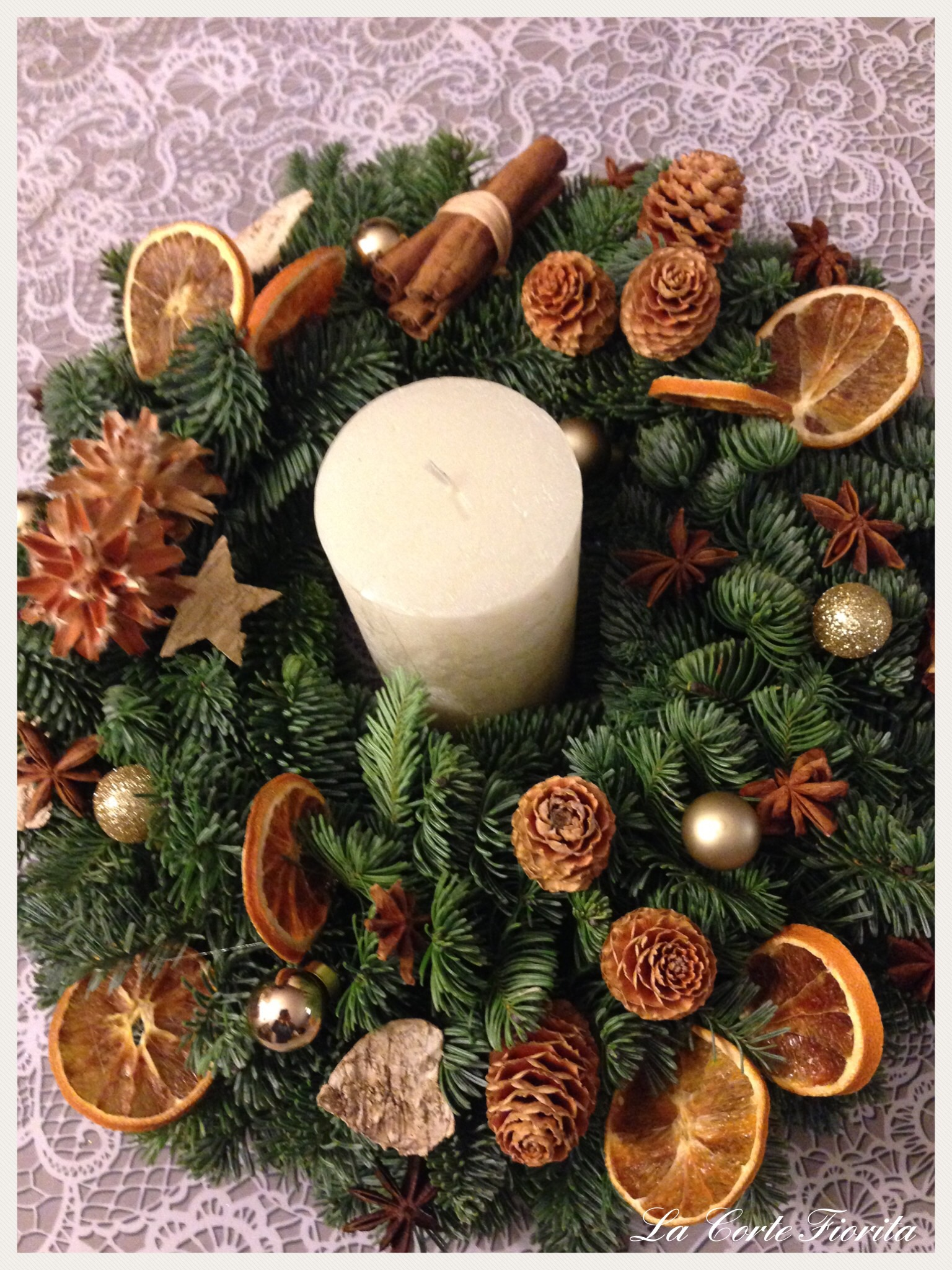 Christmas wreath in a natural style